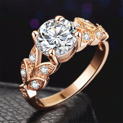 Women Elegant Rose Gold  Inlaid Zircon Ring Fashion Wedding Party Jewelry B