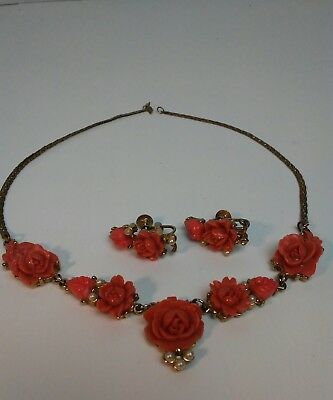 Vintage Necklace & Screw Back Earrings Set Carved Celluloid Coral Roses Goldtone