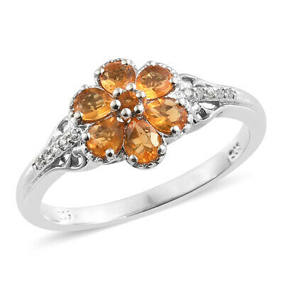 Sterling Silver Platinum Plated Fire Opal, Multi Gemstone Ring Cttw 0.8