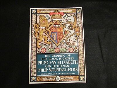 1947 Princess Elizabeth & Philip Mountbatten Wedding Program Westminster Abby