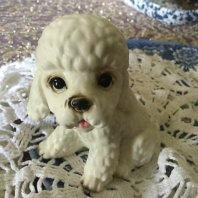"""White Poodle Figurine Vintage Porcelain Puppy,  3 1/4"""" Tall, A74"""