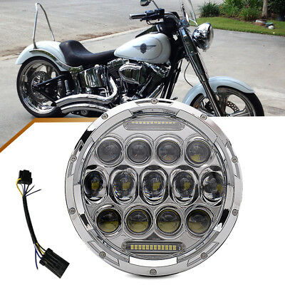 1* 7'' inch Cree Round Motocycle Day Maker LED Light Bulb Headlight For Harley