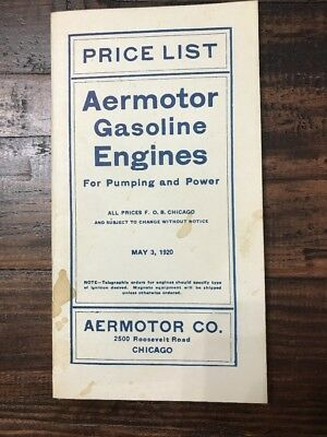 May 1920 Price List Aermotor Gasoline Engines for Pumping & Power hit miss engin