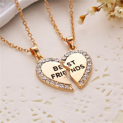 2 Pcs Best Friends Silver/Gold Plated Love Heart Crystal Pendant Chain Necklace