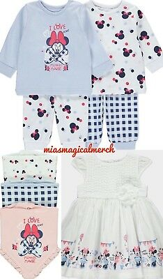 Brand New Baby Girl's Minnie Mouse 2 Pack Pyjamas 3 Pack Bibs