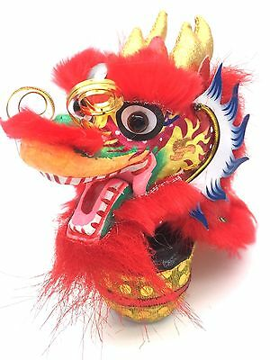Lion Dance Handcrafted Dragon Head Year Gift Chinese Car Mini Ornament Red 2018
