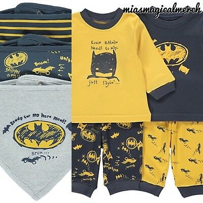 Brand New Baby Boys DC COMICS Batman 2 Pack Pyjamas 3 Pack Bibs