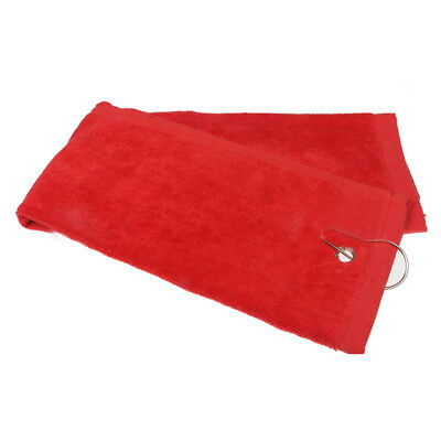 1pcs Golf towel sports towel fitness towel with hook red E6L5