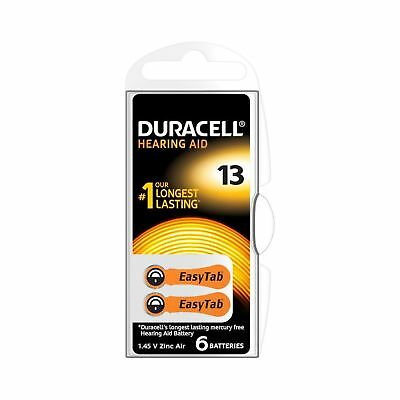 Duracell Hearing Aid Batteries Size 13, pack of 6 Type 13 .