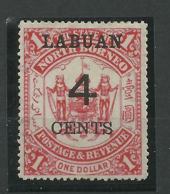 Labuan 1895 Sg 75, 4c on $1 Scarlet, Lightly Mounted Mint with gum. [C/W 431]