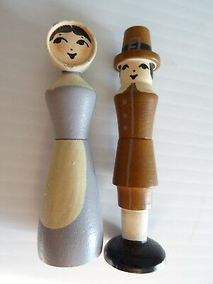 Turned Wood Hand Painted Pilgrim Couple Sewing Needle Cases