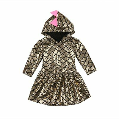 S-426 Girls Gold Dinosaur Scale Dress (Ready to Ship From Ohio) (Free Shipping)