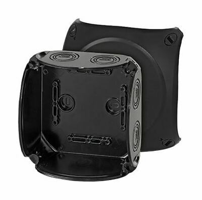 Polycarbonate IP66/67 Junction Box Knock Out, 130 x 130 x 77mm, Black