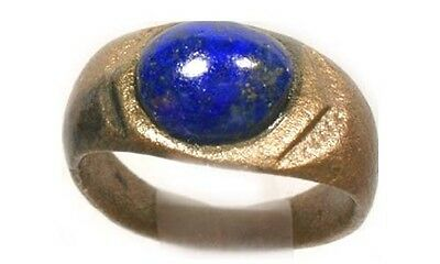 AD300 Ancient Roman Thrace (Bulgaria) Ring Sz6 + Antique 19thC 3ct Lapis Lazuli