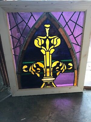 Sg 2550 Antique Gothic Design Stainglass Window 23.25 X 26.5