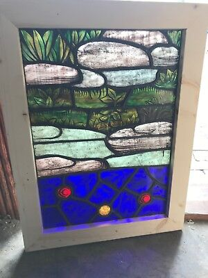 Sg 2549 Antique Painted In Fired Stainglass Window 21 X 27.75