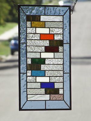 """•Colorific •Beveled Stained Glass Window Panel • 17 3/8 """"x 11 3/8"""""""