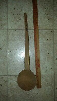 "Primitive Antique Large Hand Carved Wood Spoon 19"" Long Kitchen Laddle"