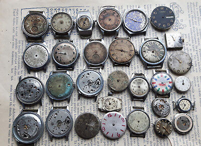 Lot of 29 pcs Vintage Russian Wrist Watch,Zim,Zvezda,Pobeda,Steampunk Parts