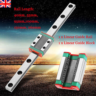 9mm LML9B Miniature Rail Guide Slide Linear Sliding Block CNC Tool 40~260mm UK