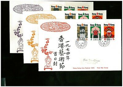 ( Hkpnc ) Hong Kong 1974 Art Festival Cpa First Day Cover Complete One Toning