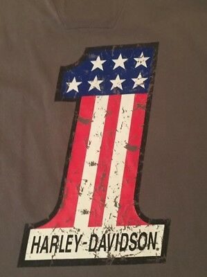 Harley-Davidson Number One Large Gray Embroidered/graphic T-Shirt Free Shipping