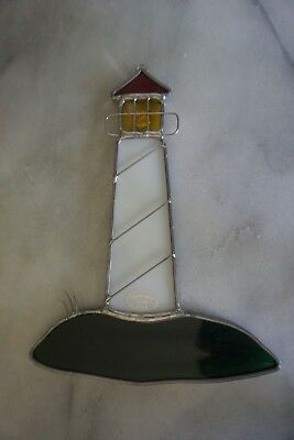 VINTAGE LEADED STAINED GLASS LIGHT HOUSE SUNCATCHER HANGING ornament