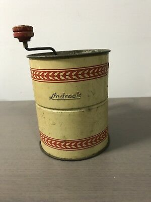 Vintage Androck Triple Flour Sifter ~White & Red~Wood Handles~Top Crank Style