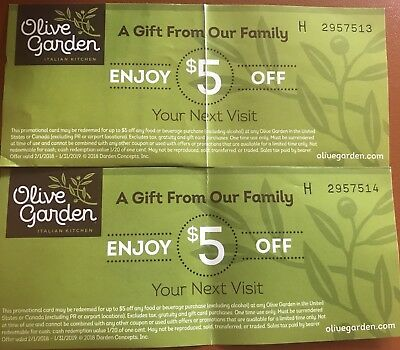 OLIVE GARDEN COUPONS - $2.99 | PicClick