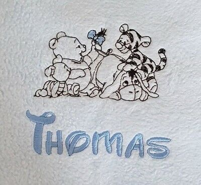 Personalised embroidered soft fleece baby blanket. Pink,blue or cream.