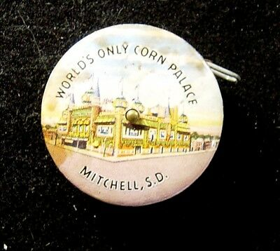 Vintage World's Only Corn Palace Mitchell South Dakota Celluloid Tape Measure