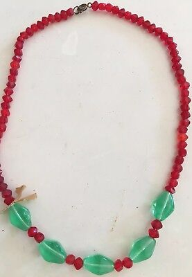 Vintage Glass Mardi Gras Beads Christmas Red & Green, Free Shipping