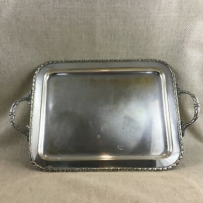 Antique French Serving Tray Louis XVI Silver Plated Rectangular Twin Handled