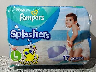 Pampers Splashers Size LARGE (31lbs) Pack of 17 Swimming Diapers NIP!