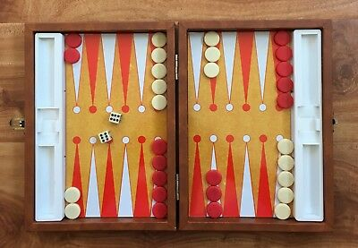 Vintage Backgammon Set Leather Case all dice