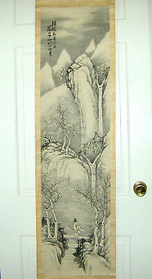 "Chinese Brush & Ink Scroll Painting Figure on Bridge w/Waterfall - 58""x15"""