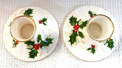 Pair Royal Grafton Holly & Mistletoe Bone China Candle Holders England