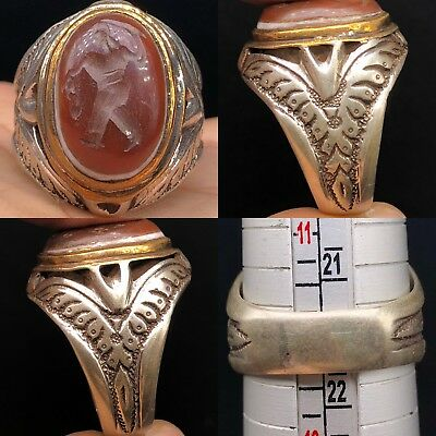 Silver roman face Ancient Agate stone intaglio Wonderful Ring #
