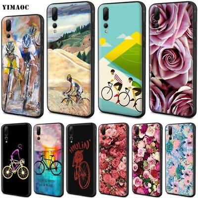 Bike Cycling Art Silicone Case For Huawei Mate20 P20 P10 P9 P8 Honor 10 9 8 Lite