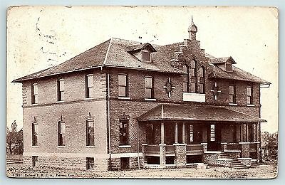 Postcard KS Parsons 1910 View of the Railroad YMCA Building R22