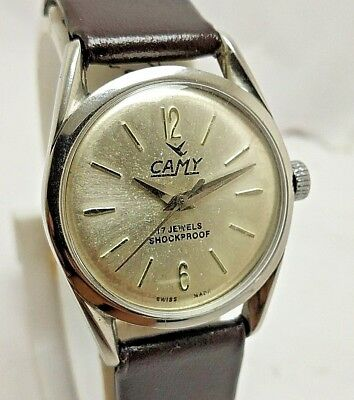 Rare Vintage Swiss Made Camy  Silver Dial Hand-Winding Wrist Watch Men's