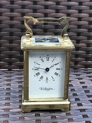 Vintage Brass Cased French Carriage Clock - Wellington 11 Jewels - Working Order