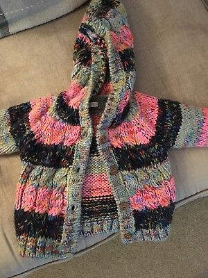 Next baby girl hooded cardigan pink multi coloured 9-12months New