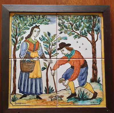 "Antique Spanish Four Tile Mural by Ceramic Artist S. Guivernau Spain 12""x12"""
