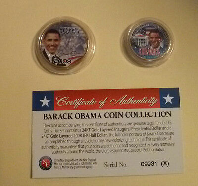 BARACK OBAMA Presidential $1 and JFK Half Dollar Coin Gold Plated and Colorized
