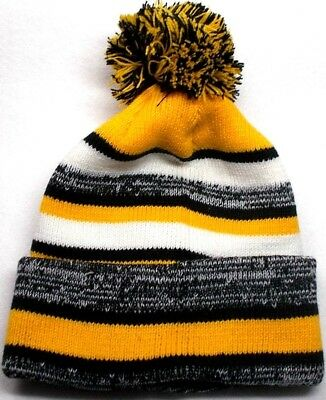 Pittsburgh Steelers Colors On Pom Beanie Knit Cap Hat! Classis Sideline Design!