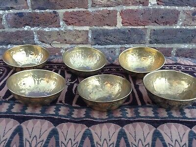 Set of 6 Asollet Brass Bowls. Plant pot trays. Eastern style. Animals & flowers