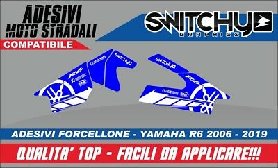 KIT Adesivi RACETRACK BLUE PROTEZIONE FORCELLONE YAMAHA YZF R6 2006 2019