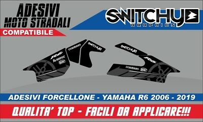 KIT Adesivi RACETRACK BLACK PROTEZIONE FORCELLONE YAMAHA YZF R6 2006 2019