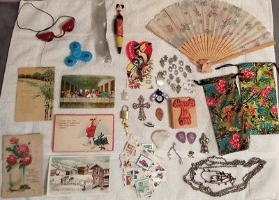 Junk Drawer Lot ~ US Stamps-Costume Jewelry-Vintage Postcards-Geode Quartz +MORE